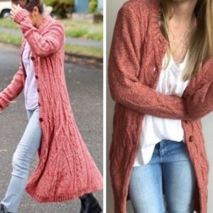 ANTHROPOLOGIE Far Away From Close Cardigan Red S